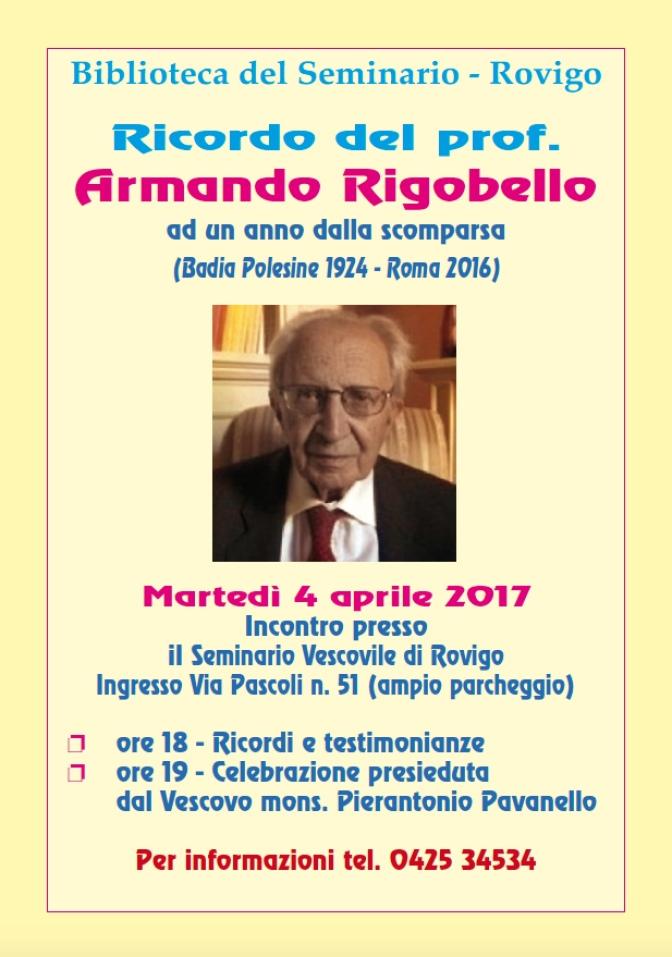 Ricordo del Prof. Armando Rigobello. Grande figura e studioso badiese